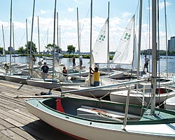 Sailboats at Community Boating on the Charles River in Boston.
